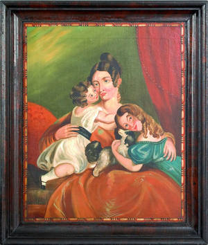 English oil on canvas family portrait 19th c