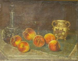 Framed Oil on Canvas Still Life with Peaches