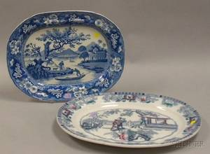 English Blue and White Transfer Decorated Staffordshire Platter and an Ashworth Chinese Pattern Ironstone Platter