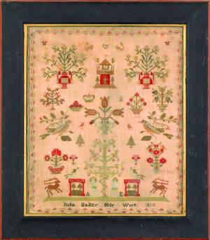 English silk on linen sampler dated 1810