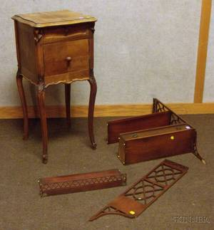 Louis XV Style Parquetry and Carved Walnut Stand and a Chippendalestyle Mahogany Wall Shelf