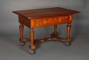 Dutch Fruitwood Marquetryinlaid Mahogany Center Table