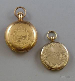 Illinois Goldfilled Hunter Case Savonnette Pocket Watch and a Goldfilled Pocket Watchform Locket