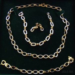 Two Italian Gold Jewelry Suites