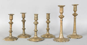 Two pair of English brass scalloped base candlesticks late 18th c
