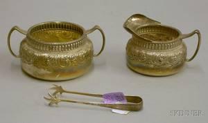 Gorham Sterling Silver Creamer Sugar Bowl and Tongs