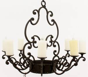 Round Iron 8 Light Chandelier