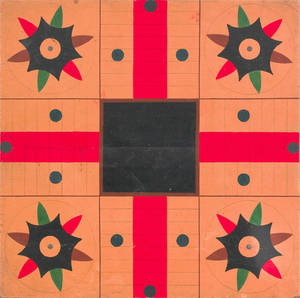 Painted parcheesi gameboard early 20th c
