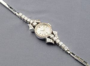 Ladys 18kt White Gold and Diamond Wristwatch Gubelin