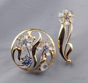 Two Retro 14kt Gold Moonstone and Sapphire Flower Brooches