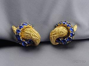 18kt Gold and Sapphire Earclips Van Cleef  Arpels
