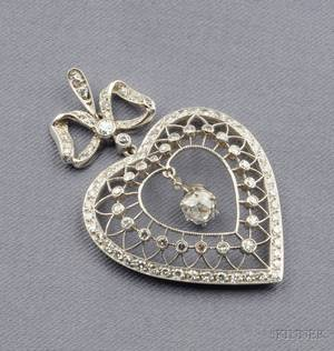 Art Deco Platinum and Diamond Heart Pendant