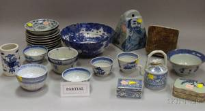 Large Group of Asian Blue and White Porcelain