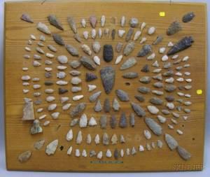 Northeast Native American Arrowheads on a Board