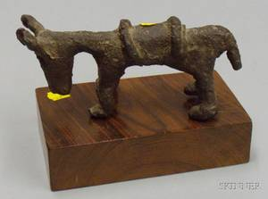 African Bronze Horse Figure on Wooden Base