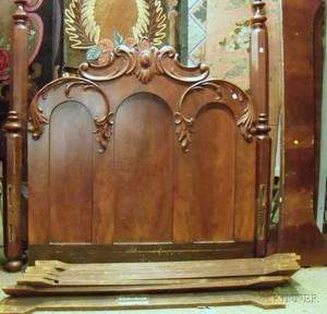 Victorian Carved Walnut and Mahogany Veneer Bed