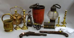 Group of AmericanThemed Decorated Objects and Pair of Pistols and Fire Bucket