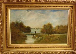 Framed Oil on Canvas Bridge at Autumn