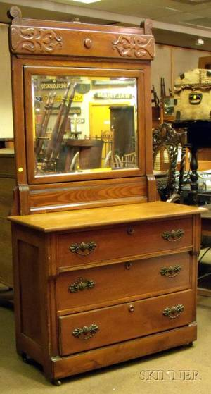 Late Victorian Oak and Mirrored Dresser