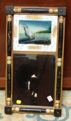 Small Late Federal Ebonized and Partialgilt Splitbaluster Mirror with Reversepainted Glass Tablet Depicting a Sailboat