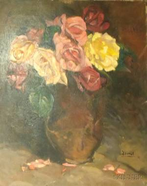 Unframed Oil on Canvas of Roses in a Brown Pitcher by Pierre Francis Daura American 18961976