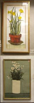 Lot of Two Framed Floral Works by Roy Bailey American 20th Century
