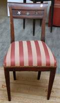 Classical Upholstered Cherry Side Chair with Pierced Star Pattern Crest