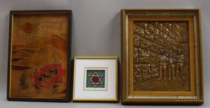 Lot of Five Framed Mixed Media Works of Art