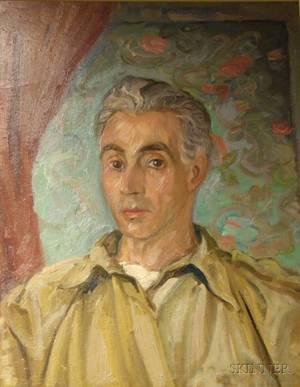 Framed Oil on Artist Board Self Portrait by Pierre Francis Daura American 18961976