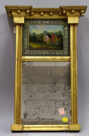 Small Federal Giltwood Tabernacle Mirror with Reversepainted Glass Tablet Depicting a Cottage