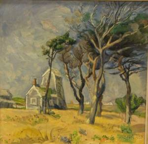 Framed Oil on Masonite Landscape with House and Trees by Pierre Francis Daura American 18961976 unsigned Provenance F
