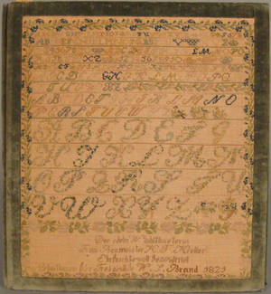 German silk on linen sampler dated 1821