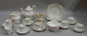 Twentyfour Piece English Handpainted Porcelain Partial Tea Service