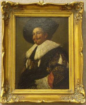 Framed Oil on Panel Portrait of a Cavalier