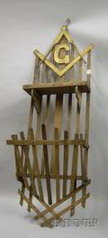 Folk Masonic Goldpainted Wooden Hanging Wall ShelfRack and a Folk Carved and Painted Wooden Eagle Figure
