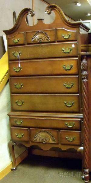 Queen Anne Style Carved Mahogany and Mahogany Veneer Highboy