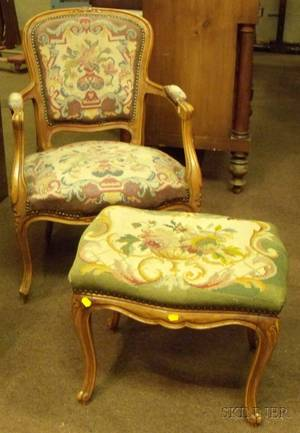 Louis XV Style Needlepoint Upholstered Carved Beechwood Armchair and Stool