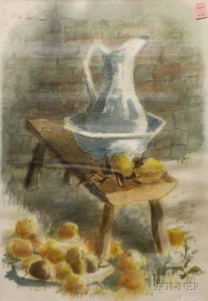 Framed Watercolor Still Life with Pitcher by Woldemar Neufeld AmericanCanadian 19092002 signed Woldemar Neufeld lr