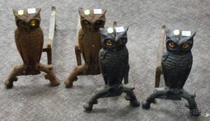 Two Pairs of Cast Iron Owls Figural Andirons with Amber Glass Eyes