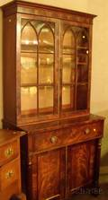 Classical Glazed Mahogany and Mahogany Veneer TwoPart Writing BureauBookcase