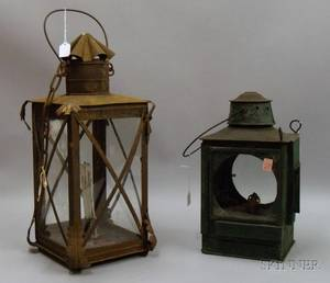 Greenpainted Tin and Glass Lantern and a Wrought Iron and Glass Lantern
