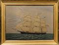 Framed Watercolor on Paper Ship Paul Revere of Boston