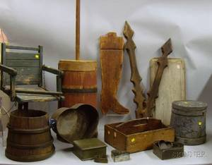 Group of Assorted Wood and Tin Country Items