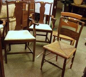 Pair of Chippendalestyle Carved Mahogany Armchairs and Two Hitchcocktype Side Chairs