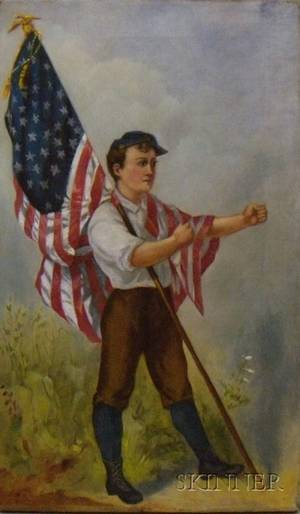 American School Late 19th Century Boy with American Flag