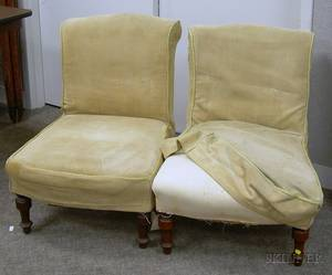 Pair of Victorian Upholstered Walnut Parlor Chairs