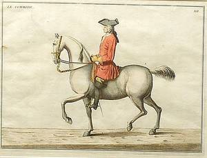 Set of Four Framed Handcolored Copper Engravings of Equestrian Poses