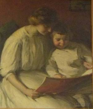 Framed American School Oil on Canvas Genre Scene with Woman and Child