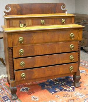 Classical Carved Mahogany and Mahogany Veneer Bureau