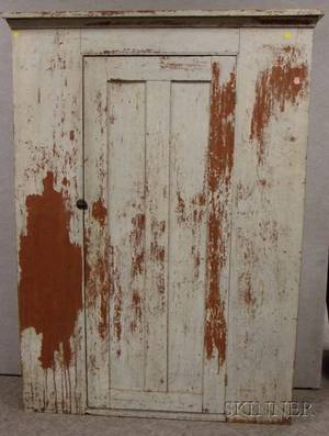 White over Redpainted Wooden Cabinet with Single Paneled Door